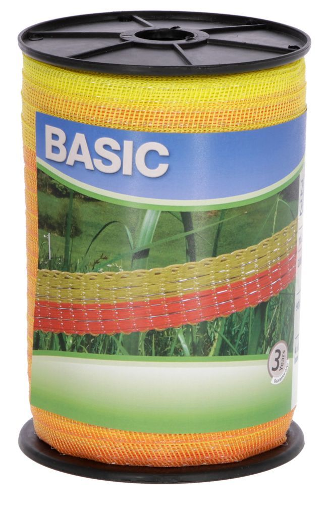 Basic Weidezaun- Band 200m/ 20mm, gelb-orange, 4x 0,16 Niro