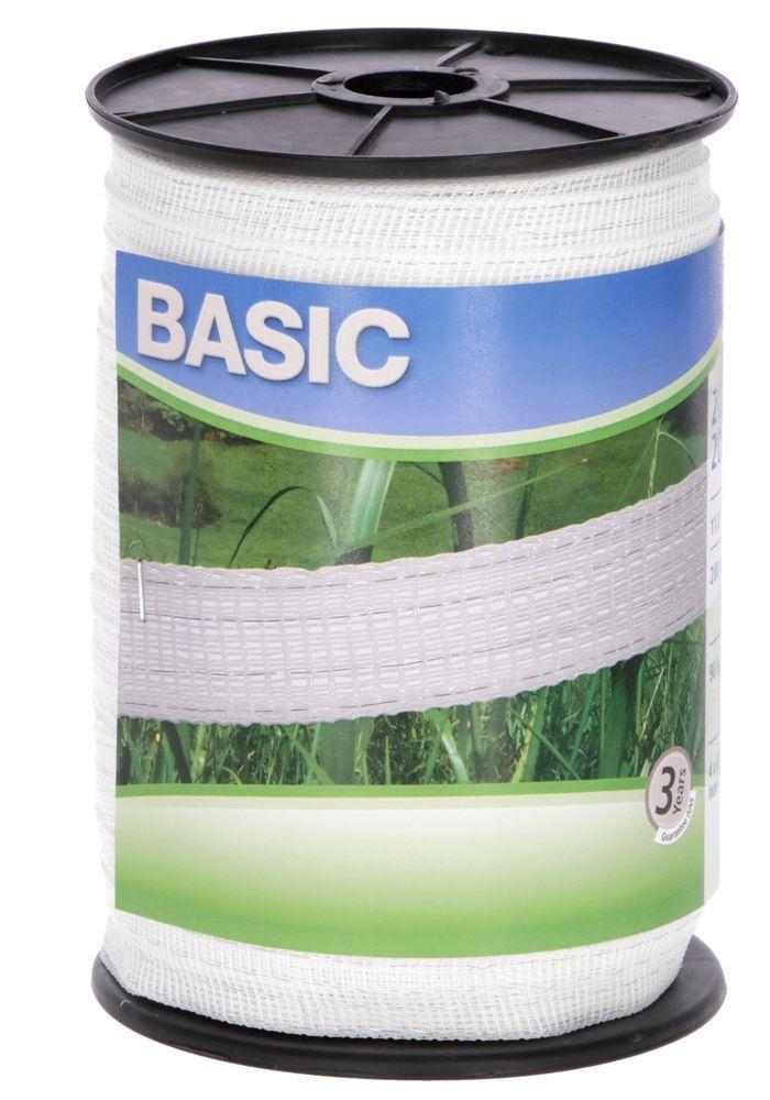 Basic Weidezaun- Band 200m/ 20mm, weiß 4x 016 Niro