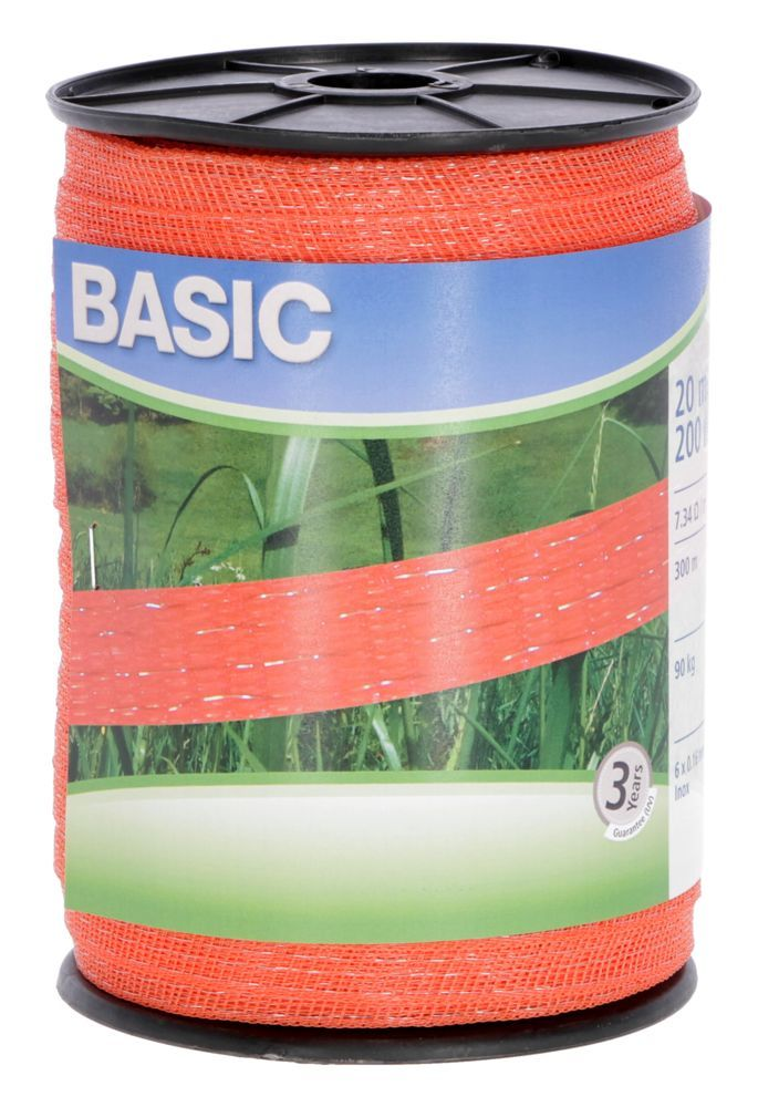 Basic Weidezaun- Band 200m/ 20mm, orange 6x 016 Niro