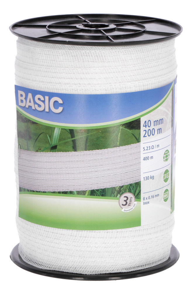 Basic Weidezaun- Band 200m/ 40mm, weiß 8x 016 Niro