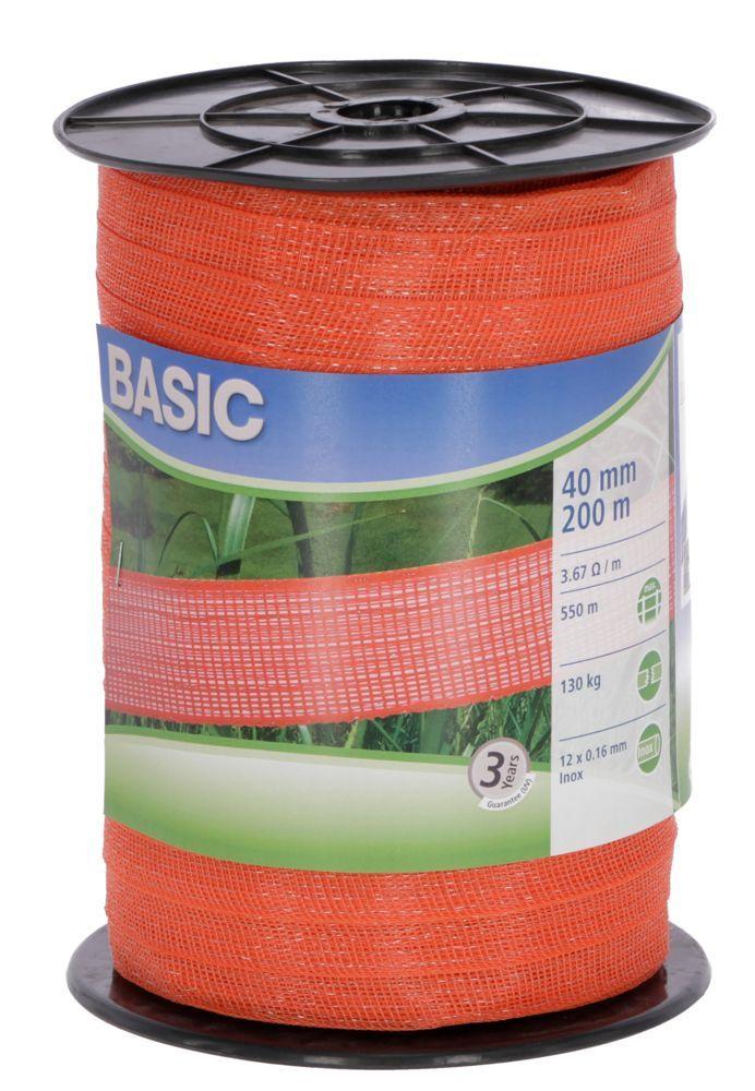 Basic Weidezaun- Band 200m/ 40mm, orange, 12x 0,16 Niro